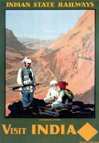 Visit India, The Khyber Pass. Vintage Indian State Railways Travel poster.